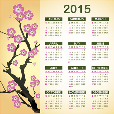 2015 calendar with plum flower vector