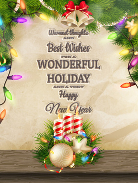 2015 christmas and new year candle background vector