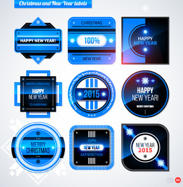 2015 christmas and new year labels blue style vector