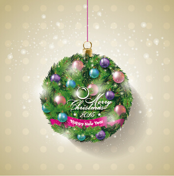 2015 christmas baubles ball art vector