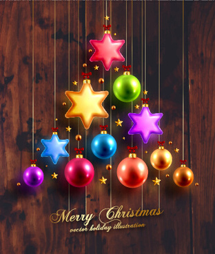 2015 christmas baubles with dark wood background vector