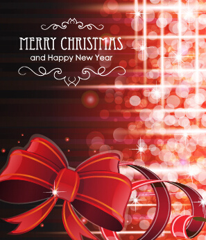 2015 christmas cards red bow vector set