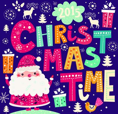 2015 christmas cartoon decorative illustration vector