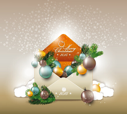 2015 christmas envelope shiny background vector