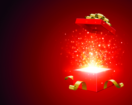 2015 christmas gift box shiny background vector