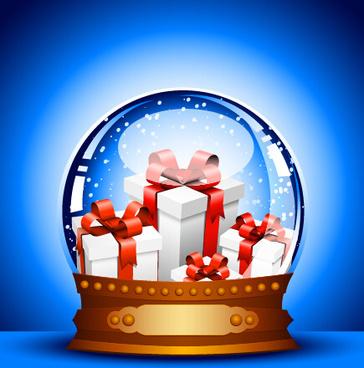 2015 christmas gift with crystal ball vector
