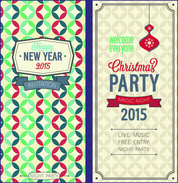 Free vector christmas invitations free vector download 8312 free 2015 christmas invitation cards vintage style vector set stopboris Images