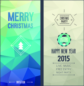 2015 christmas invitation cards vintage style vector set