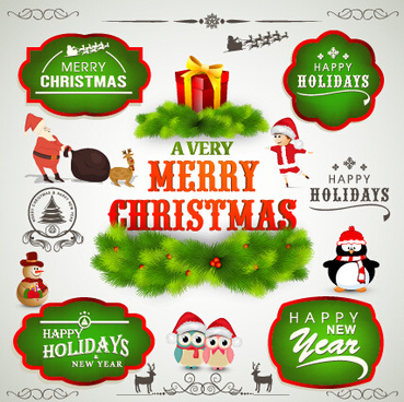2015 christmas labels and ornament illustration vector
