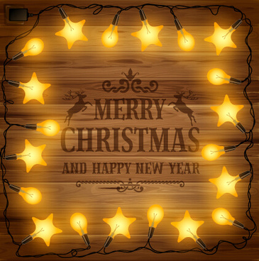 2015 christmas light frame and wooden background