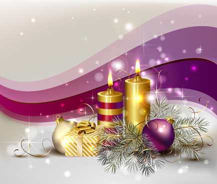 2015 christmas ornaments and candle vector background art