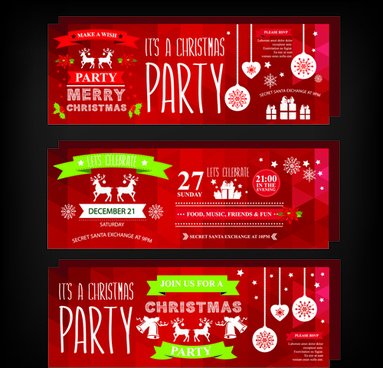2015 christmas party invitation banners vector