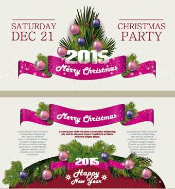 2015 christmas party poster banner vector