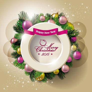 2015 christmas round frame and baubles background