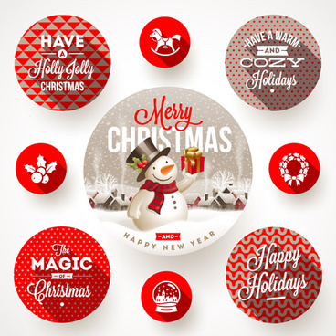 2015 christmas round labels vector
