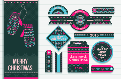 2015 christmas sale tags with cards vector