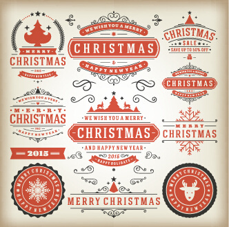 2015 christmas sales labels vintage vector