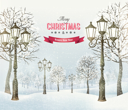 2015 christmas street lamp and snow background