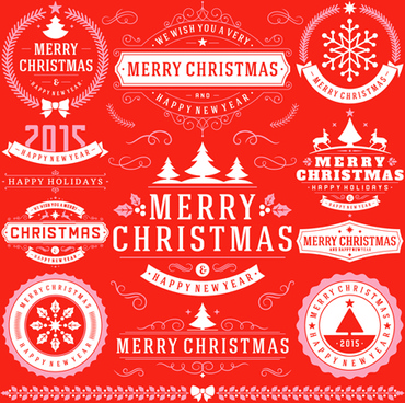 2015 christmas with happy holiday labels vector