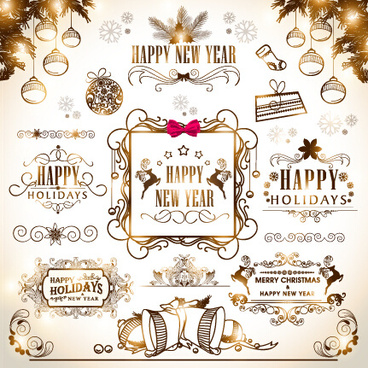 2015 christmas with new year calligraphic ornament vector