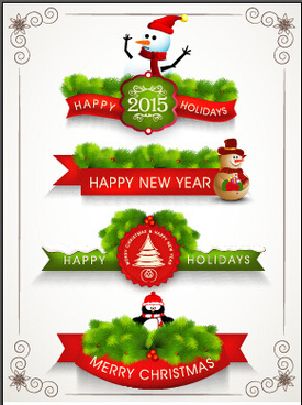 2015 christmas with new year labels and frames vector