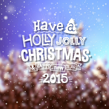 2015 christmas with winter blurred background vector