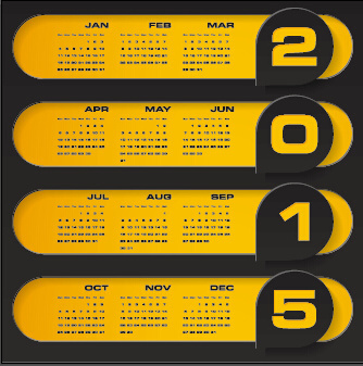 2015 company calendar black with yellow style vector