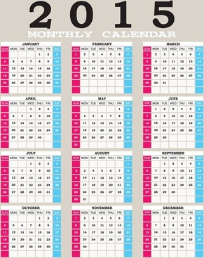 2015 grid calendar creative design vector