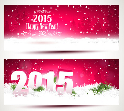 2015 happy new year winter banners vector