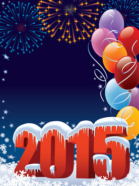 2015 holiday background with colored balloon vector