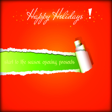 2015 holiday torn paper background vector