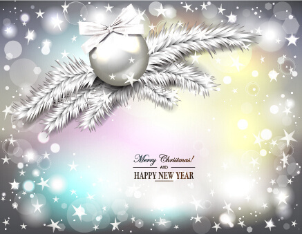 2015 new year and christmas baubles shiny background