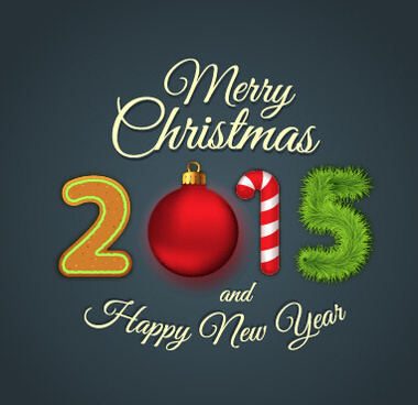 2015 new year and christmas cute vector