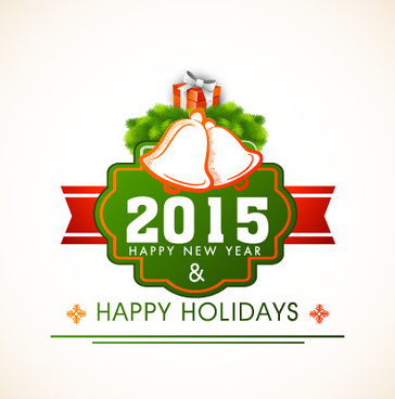 2015 new year and merry christmas label design vector