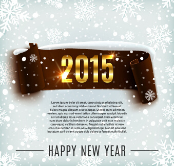 2015 new year banner with snowflake pattern vector graphics