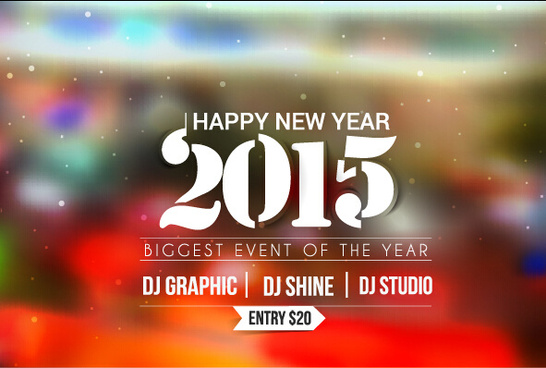 2015 new year blurs backgrounds vector set