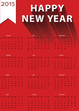 2015 new year calendar red vector