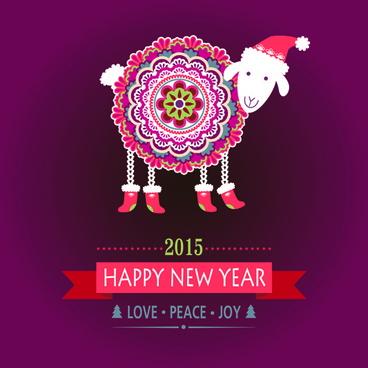 2015 new year card with floral sheep vector