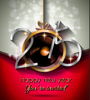 2015 new year golden ornaments background set