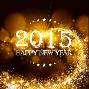 2015 new year golden rays background vector
