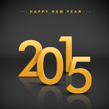 2015 new year golden text vecor background