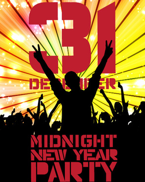 2015 new year midnight music party poster vector