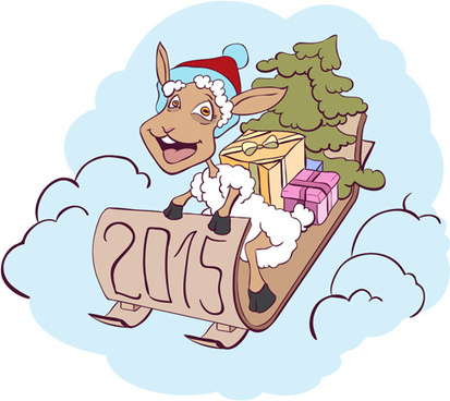 2015 new year with christmas and funny sheep vector