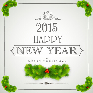 2015 new year with christmas frame and labels vector