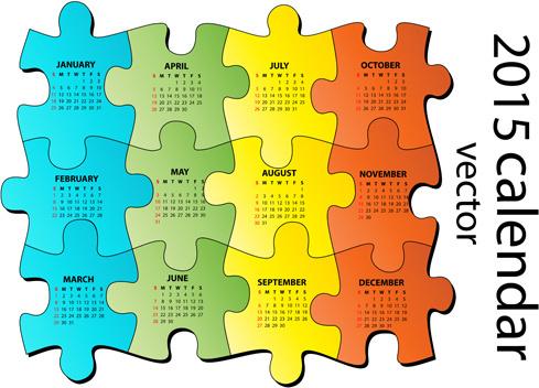 2015 puzzle calendar vector