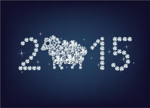 2015 sheep diamond style vector
