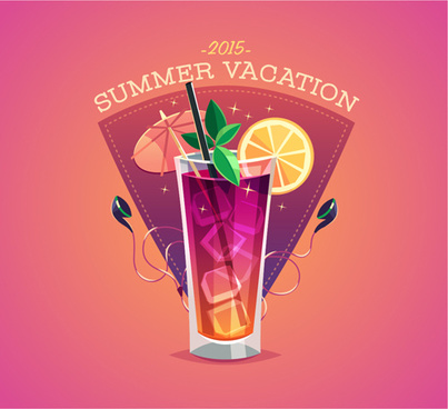 2015 summer vacation poster vintage vector