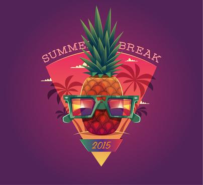 2015 summer vacation poster vintage vector