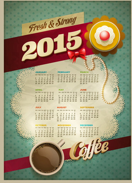 2015 vintage calendar with coffee vector