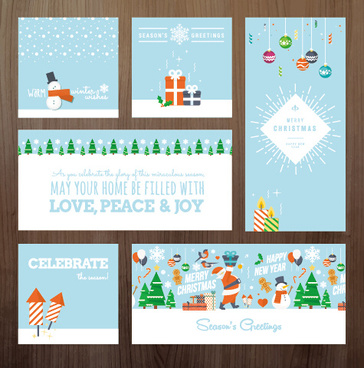 2015 xmas and new year greeting cards kit vector